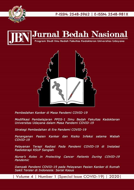 Dampak Pandemi Covid 19 Pada Pelayanan Pasien Kanker Di Rumah Sakit Tersier Di Indonesia Serial Kasus Jbn Jurnal Bedah Nasional