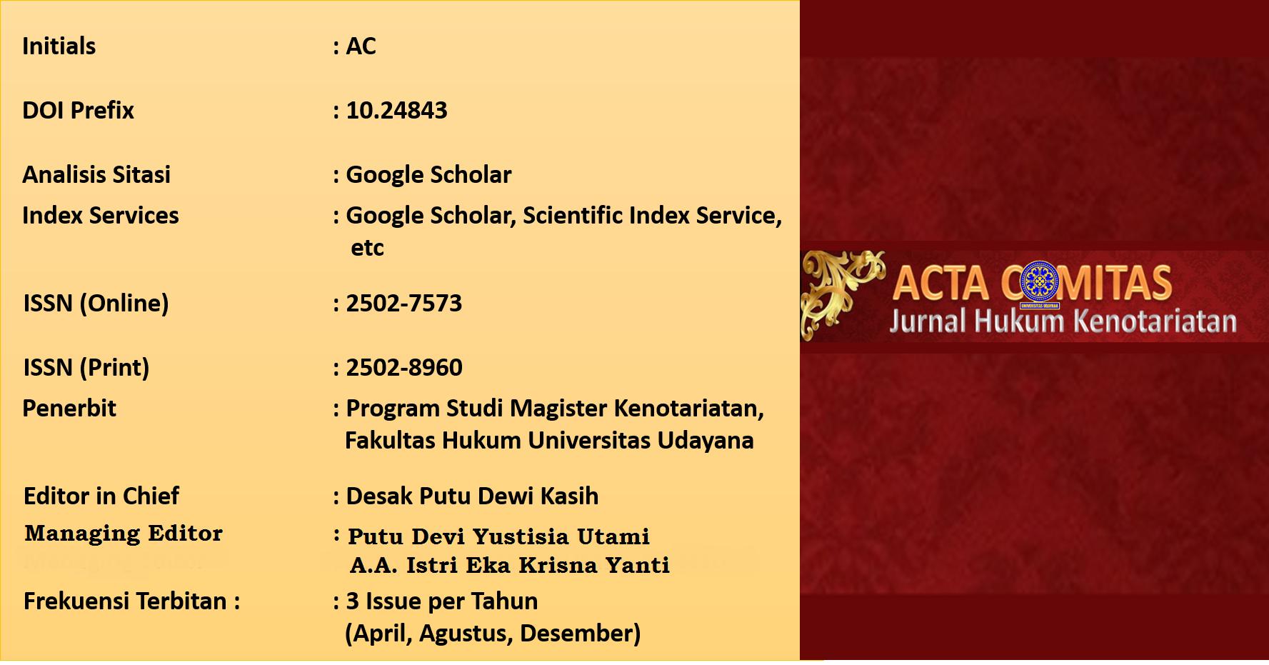 Acta Comitas Jurnal Hukum Kenotariatan