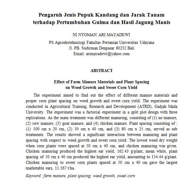 Submissions Jurnal Agroekoteknologi Tropika Journal Of Tropical Agroecotechnology